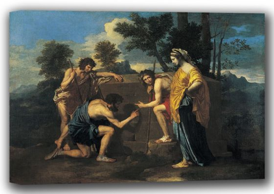 Poussin, Nicolas: The Arcadian Shepherds/Et in Arcadia Ego. Fine Art Canvas. Sizes: A4/A3/A2/A1 (001661)